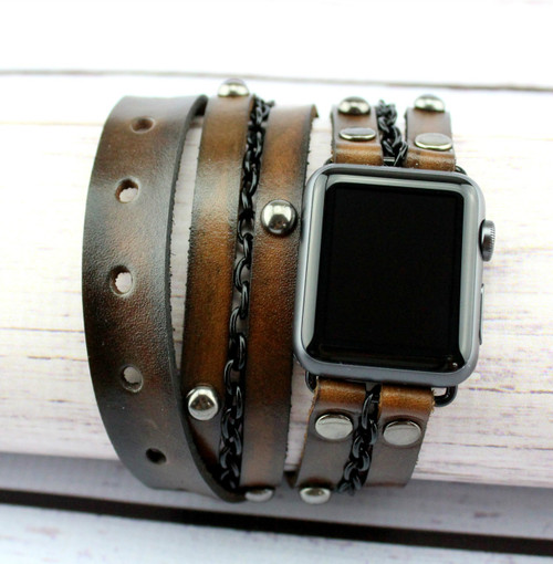 Aged Brown Apple Watch Band-Leather Wrap Watch for Apple Watch