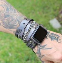 Smokey Grey Apple Watch Band-Leather Wrap Watch for Apple Watch