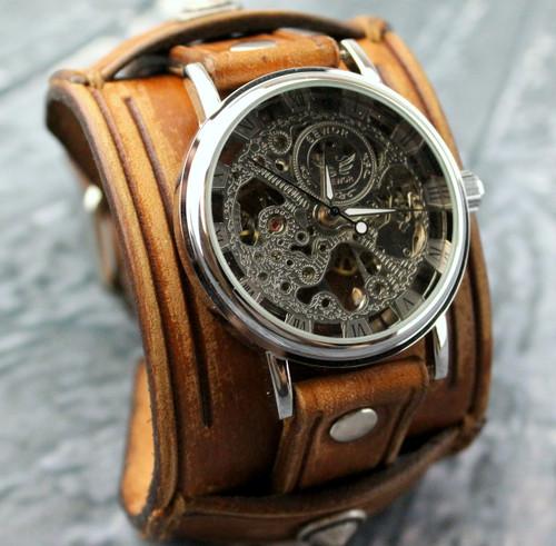 Brown Leather Watch Cuff with Skeleton Watch-Steampunk Wrist Watch