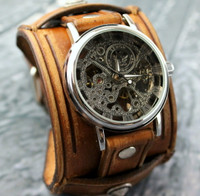 Brown Leather Watch Cuff with Skeleton Watch-Steampunk Wrist Watch