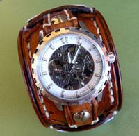 Chocolate Cherry Leather Watch Cuff with Personalizable Metal Tags