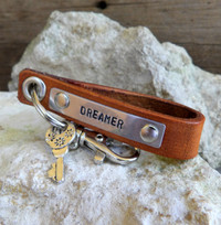 Brown Leather Key Chain-Personalizable-DREAMER