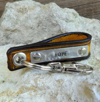 Leather Key Chain with Customizable Metal Tag-HOPE