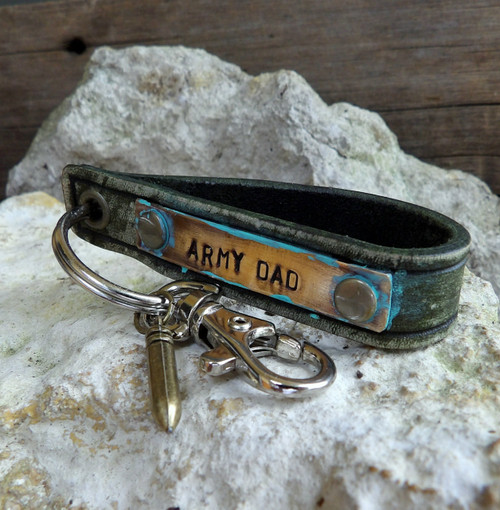 Army Dad Leather Key Chain with Bullet Charm-Military Gift