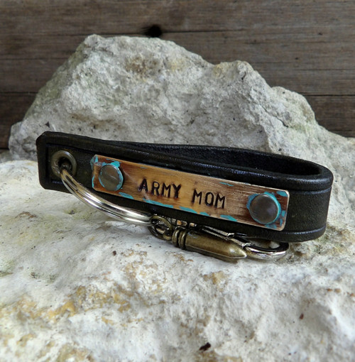 ARMY MOM LEATHER KEY CHAIN WITH BULLET CHARM-MILITARY GIFT