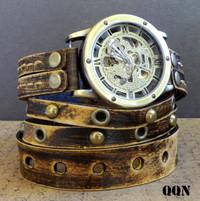 Vintage Looking Steampunk Men's Leather Wrap Watch