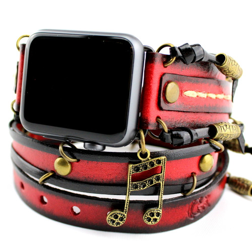 Red and Black Apple Wrap Band with Brass Rivets