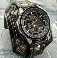 Burnt Looking Steampunk Leather Wrist Watch-Green