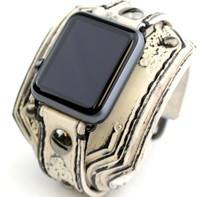 Burnt Looking Leather Apple Watch Cuff-Distressed White