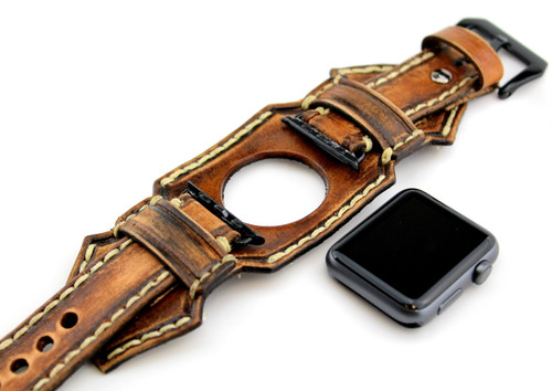 Custom Leather Apple Watch Cuff in Distressed Brown