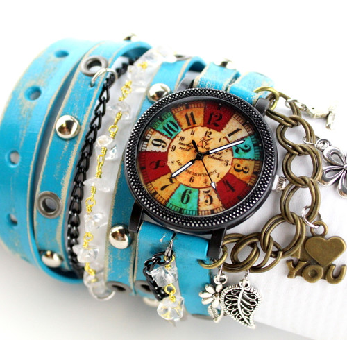 Turquoise Hippie Leather Wrap Watch