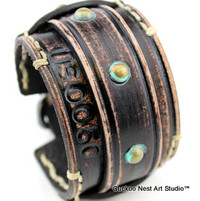 Distressed Black Leather Bracelet with Tarnished Rivets