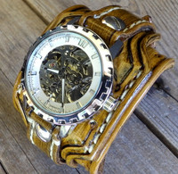 Light Brown Watch Cuff with White Steampunk Watch face