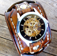Steampunk Medium Brown Leather Watch Cuff with Personalizable Tags