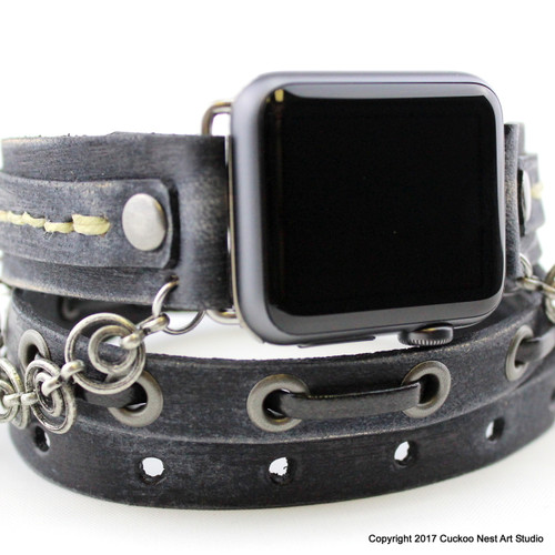 Gray Leather Apple Watch Band with Chains