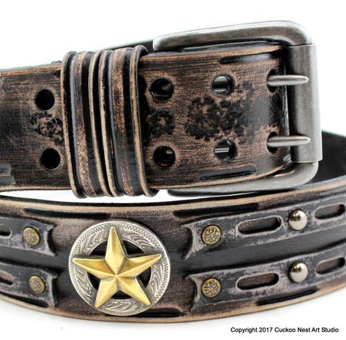 Vintage looking distressed black leather belt