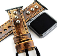 Vintage Brown Leather Apple Watch Strap with Gunmetal Studs