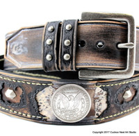 Burnt looking Leather Belt with Morgan Dollar Conchos