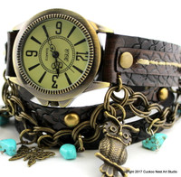 Steampunk Leather Wrap Watch with Turquoise beads and Charms