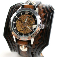 Handtooled Leather Watch Cuff with Steampunk Watch