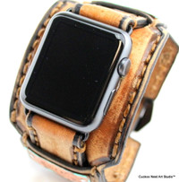 Distressed Brown Apple Watch Cuff with Metal tag