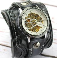 Wide Leather Steampunk Watch Band-Gray