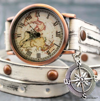 WORLD WRAP WATCH WITH COMPASS CHARM