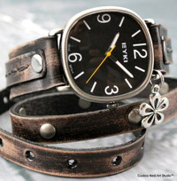 Distressed Black Leather Wrap Watch with flower charm