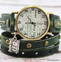 Green leather wrap watch-Readers Gift
