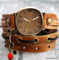 Brown leather wrap around watch