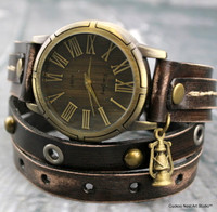 Distressed brown leather wrap watch with oil lamp charm