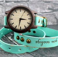 Wooden engraved leather wrap watch-Vintage blue