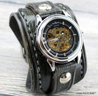 Gray leather watch cuff with steampunk watch