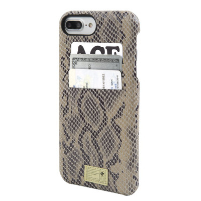 Hex Solo Wallet Case for iPhone 7 Plus - Beige Snake Leather