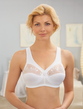 Glamorise Magic-Lift Embroidered Full-Figure Wirefree Support Bra White