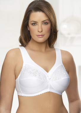 Glamorise Magic-Lift Embroidered Cotton-Blend Support Bra White