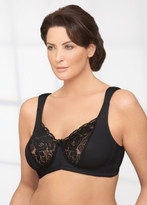 Glamorise Elegance Satin & Lace Soft Cup Support Bra Black