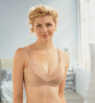 Glamorise Elegance Satin & Scalloped Lace Cleavage Bra Cafe