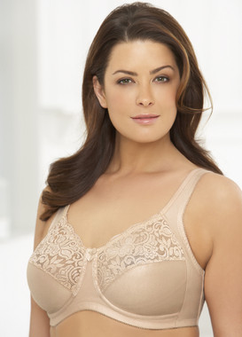 Glamorise Natural Wire Poke-Free Underwire Lace Support Bra Cafe