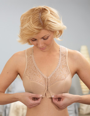 Glamorise Soft-Shoulders Back Support Front-Close T-Back Bra Cafe
