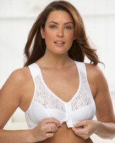 Glamorise Soft-Shoulders Back Support Front-Close T-Back Bra White