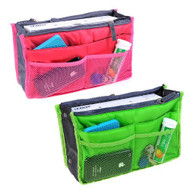 2*New Style Insert Handbag Multifunctional Organiser Purse Large Liner Organizer Bag Tidy Travel-Rose Red+Green