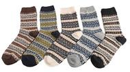 Lian LifeStyle Men's 5 Pairs Wool Socks Diamond Size 6-10 Men's Clothing
