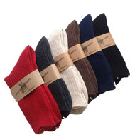 Lian LifeStyle Men's 4 Pairs Knitted Wool Crew Socks One Size 8-11 Men's Clothing