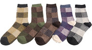 Lovely Annie Men's 5 Pairs Pack Angora Wool Crew Socks Big Square Size 7-10