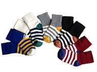 Lian LifeStyle Children's 5 Pairs Pure Cotton Crew Socks Strip Size(1Y-10Y)