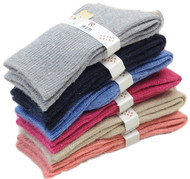 Lovely Annie Children 3 or 6 Pairs Pack Wool Socks Solid Color