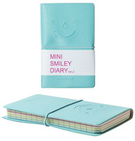 Smiley Mini Diary Leather Notebook Journal Lined Paper-(Pastel Blue)