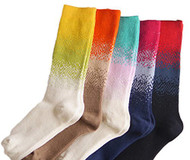Lian LifeStyle Women's 5 Pairs Rainbow High Crew Cotton Socks Size 6-9 5 Colors