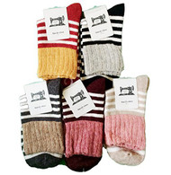 Lian LifeStyle Women's 5 Pairs Stripped Wool Blend Crew Socks Size 6-9 5 Colors